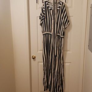 Stripped jump suit